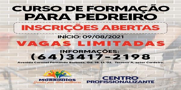 Prefeitura de Morrinhos abre inscrições para o curso de formação para pedreiro